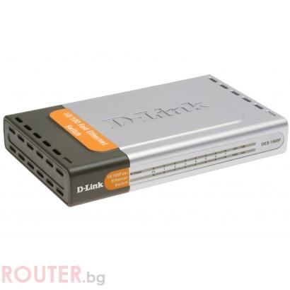 Мрежов суич D-LINK 7-Port 10/100Mbps UTP & 1-Port 100Mbps Fiber Fast Ethernet