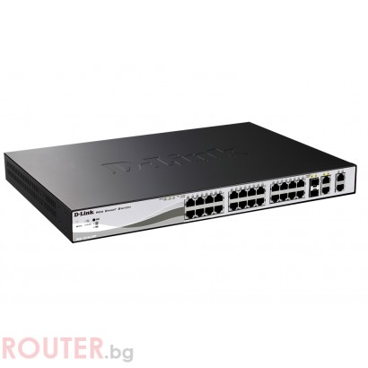 Мрежов суич D-LINK 24-port 10/100 PoE Smart Switch + 2 Combo 1000BaseT/SFP + 2 Gigabit
