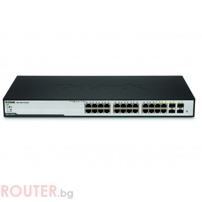 Мрежов суич D-LINK 24-Port 10/100/1000 Gigabit Smart PoE Switch + 4 Combo