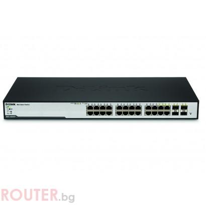 Мрежов суич D-LINK 24-Port 10/100/1000 Gigabit Smart PoE Switch + 4 Combo