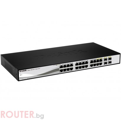 Мрежов суич D-LINK 24-port 10/100/1000 Gigabit Smart Switch including 4 Combo 1000BaseT/SFP