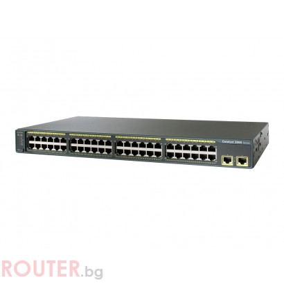 Мрежов суич CISCO Catalyst 2960, 48 10/100 + 2 10/100/1000 Uplinks, LAN-Base Image