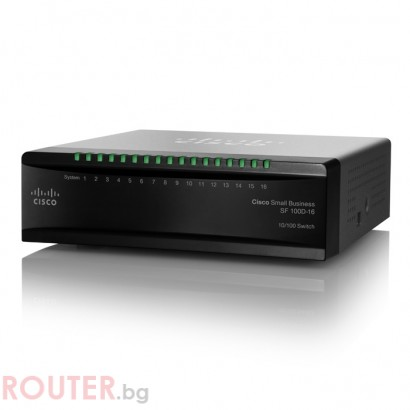 Мрежов суич CISCO SF100D-16P 16-Port 10/100 PoE Desktop Switch