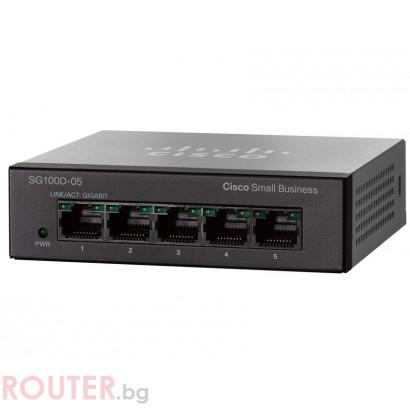 Мрежов суич CISCO SG100D-05 5-Port Gigabit Desktop Switch