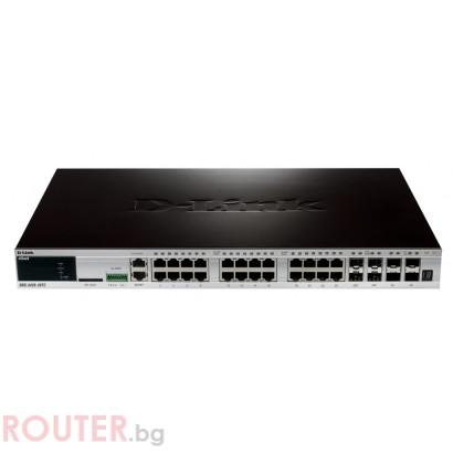 Мрежов суич D-LINK xStack 24-port 10/100/1000 Layer 2+ Stackable Managed Gigabit Switch