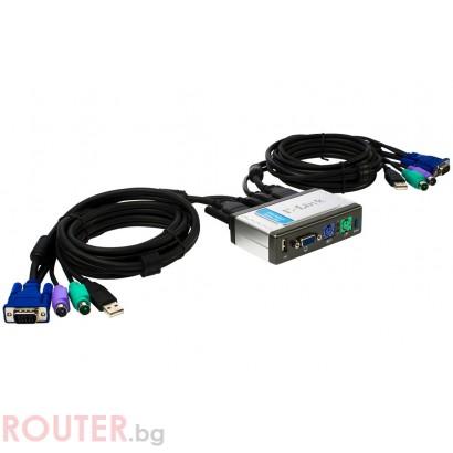 KVM Суич D-LINK 2-Port Keyboard-Video-Mouse+USB Switch - Second Hand
