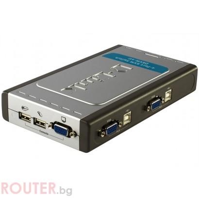 KVM Суич D-LINK 4-Port Video+USB Switch, With 2 KVM cables