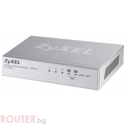 Мрежов суич ZyXEL ES-105A 5-port 10/100Mbps Ethernet switch, 2x QoS (!), desktop, metal housing