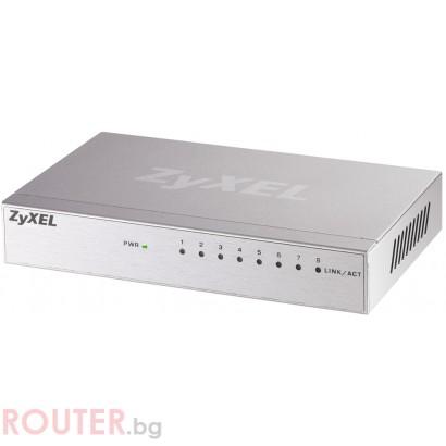 Мрежов суич ZyXEL ZyXEL GS-108B 8-port 10/100/1000Mbps Gigabit Ethernet switch, desktop, metal housing