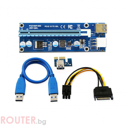 Удължител No Brand Riser Card VER006C, PCI-E 1X to 16X + USB 3.0 Кабел, СинУдължител No Brand Riser Card VER006C, PCI-E 1X to 16X + USB 3.0 Кабел, Син