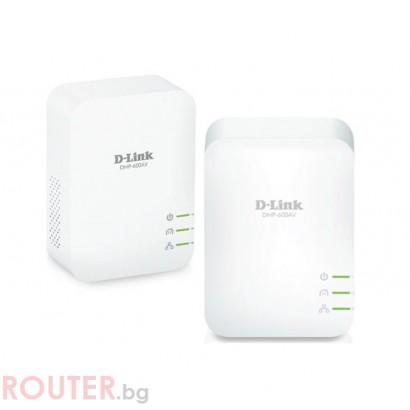 Адаптер D-Link PowerLine AV2 1000 HD Gigabit Starter Kit, 1000 Mbps, 2 бр. в пакет, DHP-601AV/E