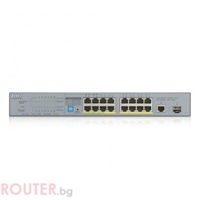Суич ZYXEL GS1300-18HP, 16 портов управляем, PoE, Gigabit