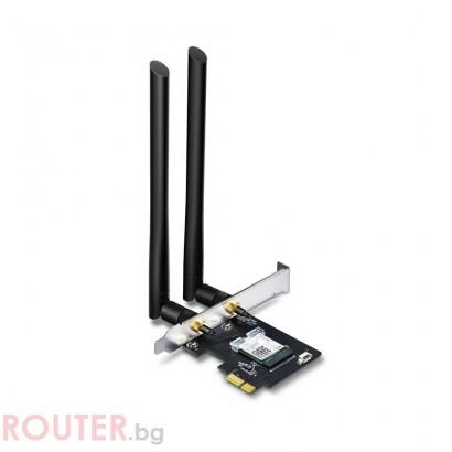 Безжичен адаптер TP-LINK Archer T5E, AC1200 dual band, PCI-EX, Bluetooth 4.2, две външни антени
