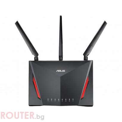 Безжичен рутер ASUS RT-AC86U, Двубандов AC2900 NitroQAM™, 750+2167 Mbps, 1 x USB 3.0, 1 x USB 2.0, Gigabit
