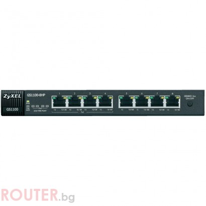 Суич ZYXEL GS1100-8HP, 8 PoE порта, Gigabit