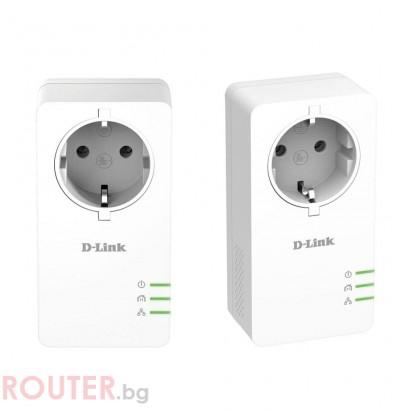 D-Link PowerLine AV2 1000 HD Gigabit Passthrough Kit, 1000 Mbps, 2 бр. в пакет, DHP-P601AV/E