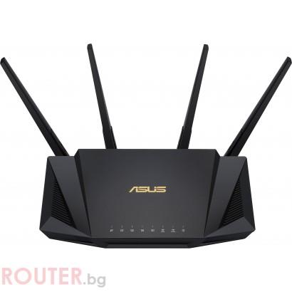 Безжичен рутер Asus RT-AX58U AX3000 Dual Band WiFi 6 (802.11ax), MU-MIMO, OFDMA, Ai Mesh, USB 3.1