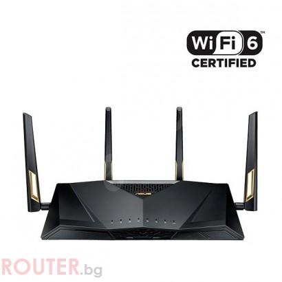Безжичен рутер Asus RT-AX88U AX6000 Dual Band WiFi 6 (802.11ax) Gaming, AI Mesh, 8 x Lan Gigabit, 2 x USB 3.1