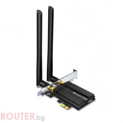 Безжичен адаптер TP-LINK Archer TX50E, AX3000 2.4/5Ghz, 574 - 2054 Mbps, PCIe, Bluetooth 4.2, Две външни антени